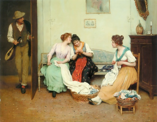 'The Friendly Gossips' Eugene de Blaas c1890 {{PD}}