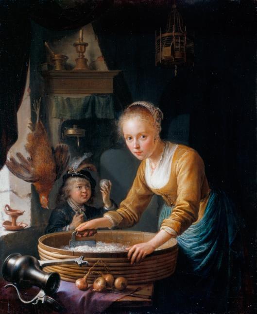 'Girl Chopping Onions' Gerrit Dou 1646 {{PD}}