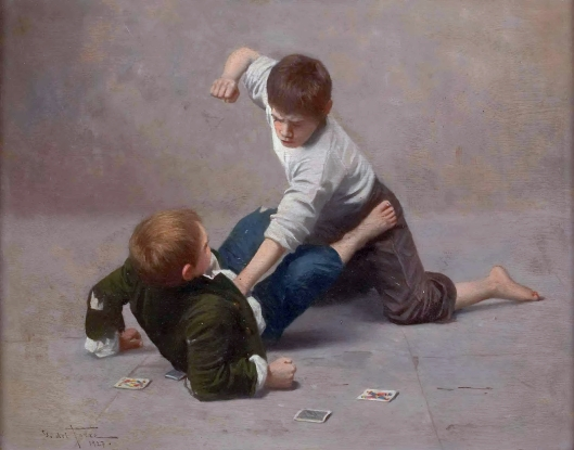 'Two Fighting Boys' Guilio del Torre 1927 {{PD}}