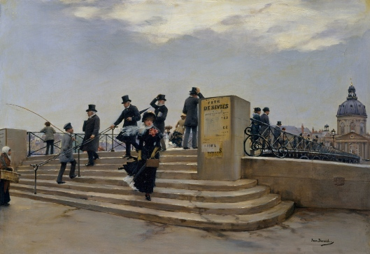'A Windy Day on the Pont des Arts' Jean Beraud c1881 {{PD}}