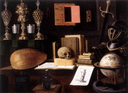 Note the costellation globe in the lower right corner 'The Great Vanity, Still-Life' Sebastian Stoskopff 1641 {{PD-Art}}
