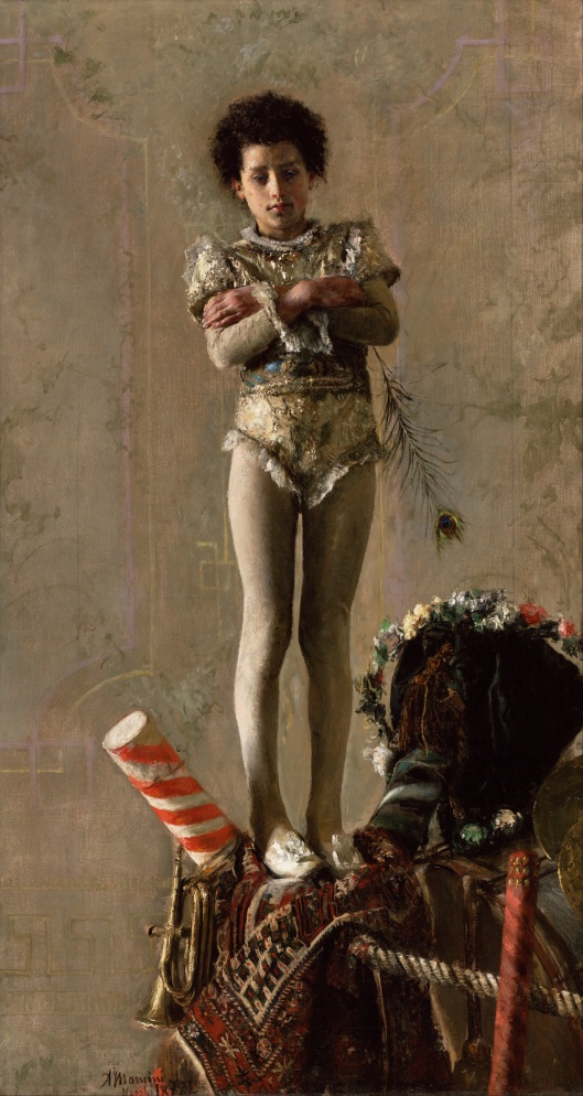 Even Juno's symbol (the peacock feather) won't help this young tightrope walker. 'Il Saltimbanco' Antonio Mancini 1870 {{PD}}