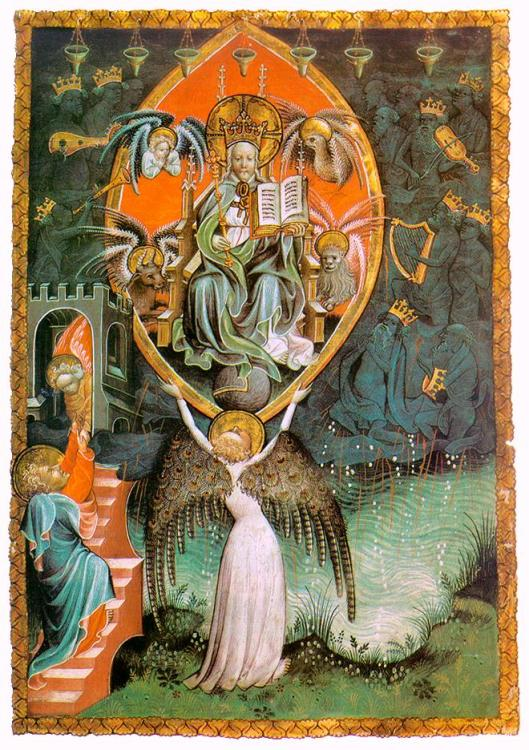 Notice the wings on the angel with uplifted arms. 'Vision of the Throne of the Lord (The Paris Apocalypse)' c1400 by an Unknown Miniaturist working in Liege {{PD}}