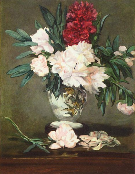 Still Life with Peonies by Edouard Manet c1865 {{PD}}