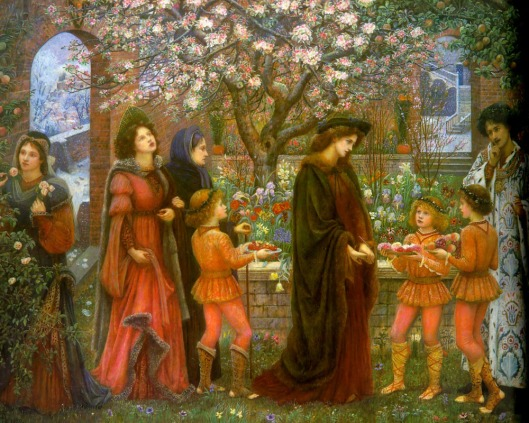 You know there's got to be a catch if the place is enchanted. 'The Enchanted Garden of Messer Ansaldo' by MS Stillman 1889 {{PD}} Here's the background for the painting in case you're interested: http://sites.fas.harvard.edu/~chaucer/special/authors/boccaccio/boc-10-5.html