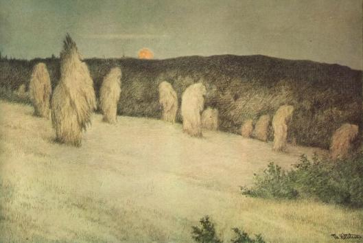 'Cornstalks in the Moonlight' Theodor Kittelsen c1900 {{PD}}