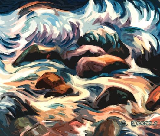 Brandung am Meer, 60 x 70, Ölgemälde von Carsten Eggers 2002 Repro photograph: Ilona Eggers Eigenes Werk, Creative Commons CC-BY-SA-2.5
