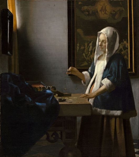 Balance isn't just for Libras. 'Woman Holding a Balance' Johannes Vermeer c1664 {{PD}}