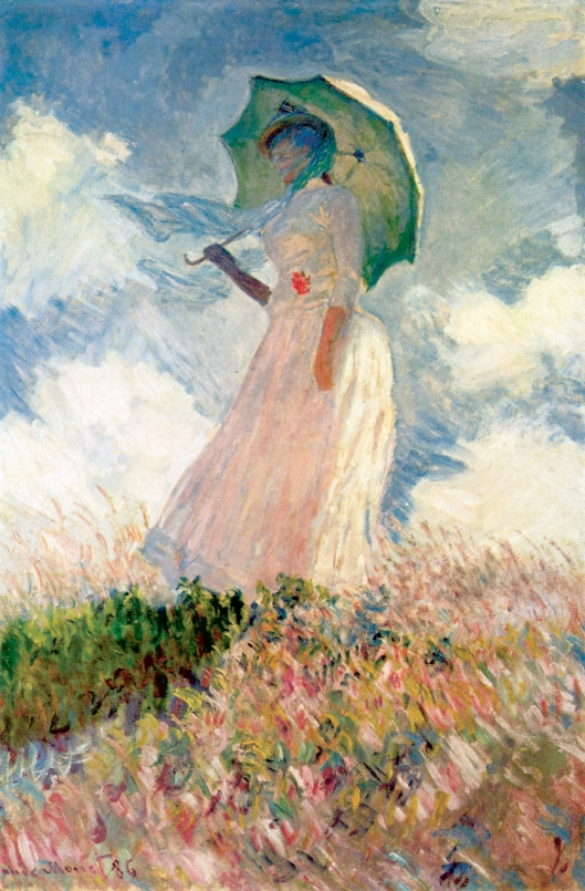 'Study of a Figure Outdoors: Woman with a Parasol, Looking Left' Claude Monet 1886 {{PD}}