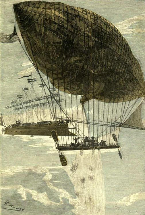 Flying's kind of a fantastical idea even at the best of times. 'Robur the Conqueror' by Léon Benett 1886 {{PD}}