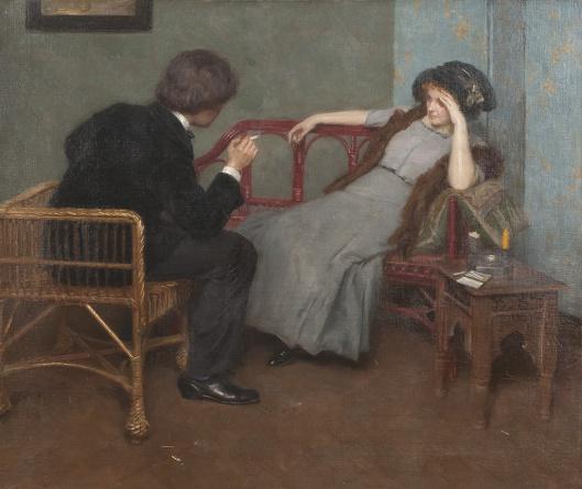'Pair in Conversation' Simon Glücklich c1900 {{PD}}