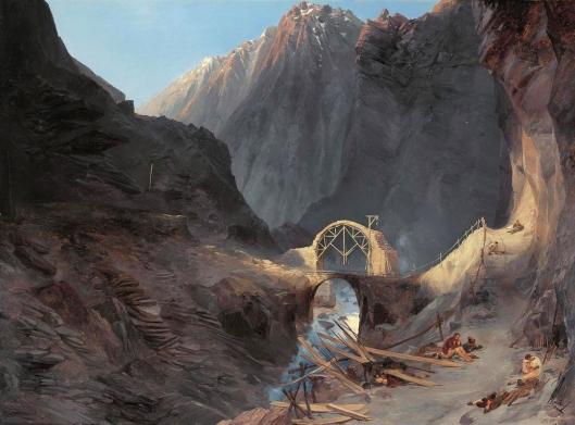 'Bau der Teufelsbruecke' ('The building of the Devil's Bridge') Carl Blechen 1833 {{PD}}