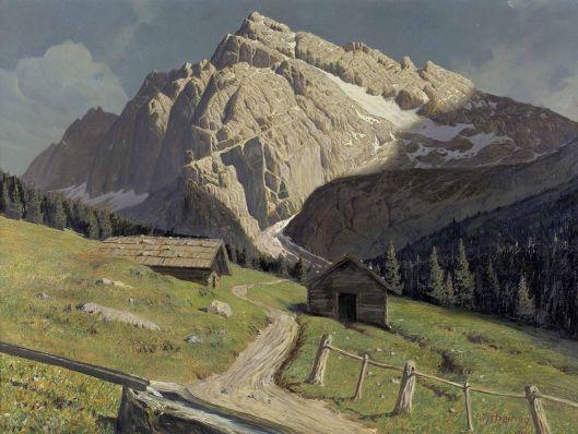 Leopold Scheiring Hochalm mit Serles bei Innsbruck 1917 {{PD}}