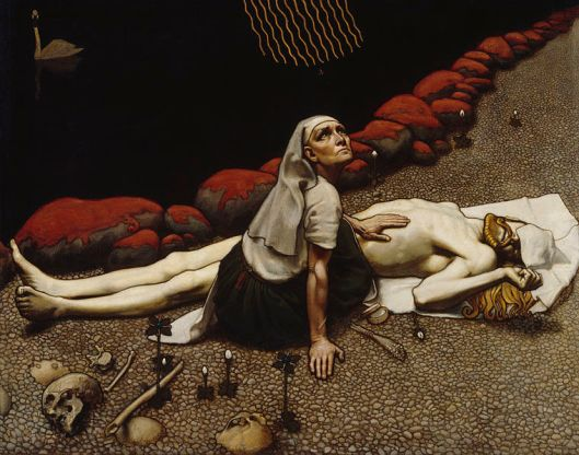 Painting by Akseli Gallen-Kallela, depicting a scene from Kalevala, a Finnish epic poem. The warrior Lemminkainen had been killed, his body hacked to pieces and thrown into the dark river that flows through the underworld, Tuonela. His mother, having collected the parts from the river and sewing them back together, looks up to see a single bee bringing back honey from the halls of the god Ukko, a wondrous ointment that would bring her son to life. This suggests Lilith as a mother, the lengths and dark depths to which she would go for her child, and the projection of the (sacrilegious) idea of taking resurrection into her own hands.