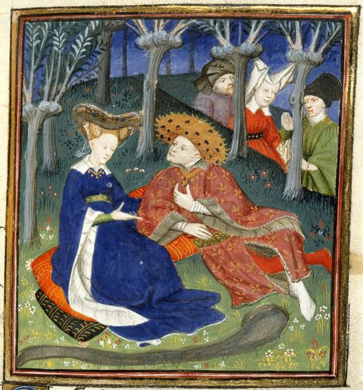 A Duke and Ladies in a Garden, from Collected Works of Christine de Pisan c1410 {{PD}}