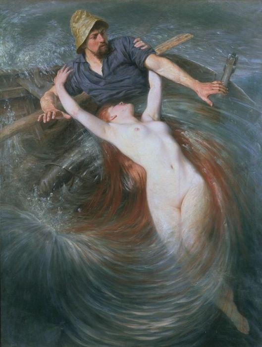 Certainly more dramatic than a burst pipe. 'Fisherman and the Siren' Knut Ekwall {{PD}}