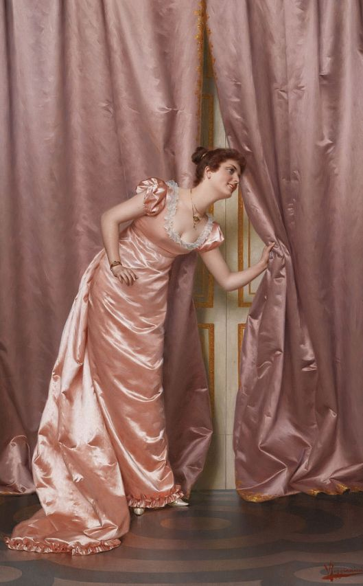 Yes, you hear it coming, Cancer. 'Eavesdropping' by Vittorio Reggianini 19th century {{PD}}