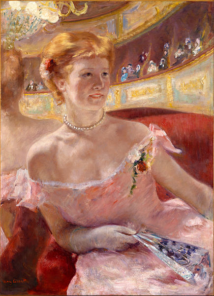 'Woman with a pearl necklace in a loge' Mary Cassatt 1879 {{PD}}