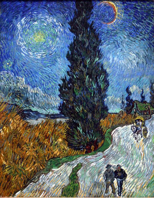 'Country Road in Provence by Night' Van Gogh {{PD}}