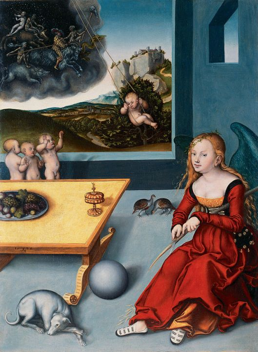 Melancholy can be an impediment to getting on with it; sometimes whittling helps. 'Melancholia' by Lucas Cranach the Elder 1532 {{PD}}