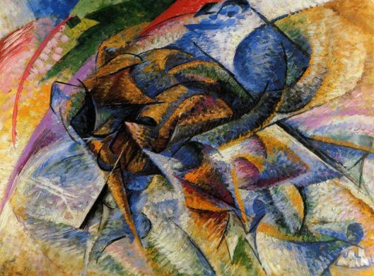 Dynamism of a Biker (1913) by Umberto Boccioni {{PD}}