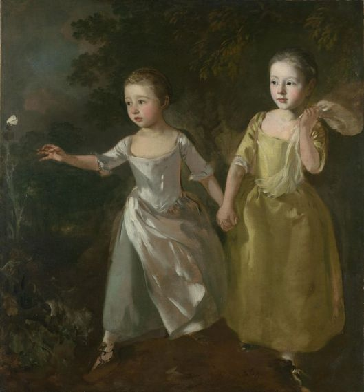 Gainsborough - The Painters Daughters Chasing a Butterfly 1756 {{PD}}