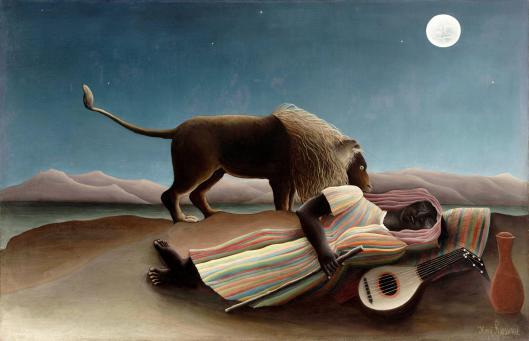 Henri Rousseau - La zingara addormentata 1897 {{PD}}
