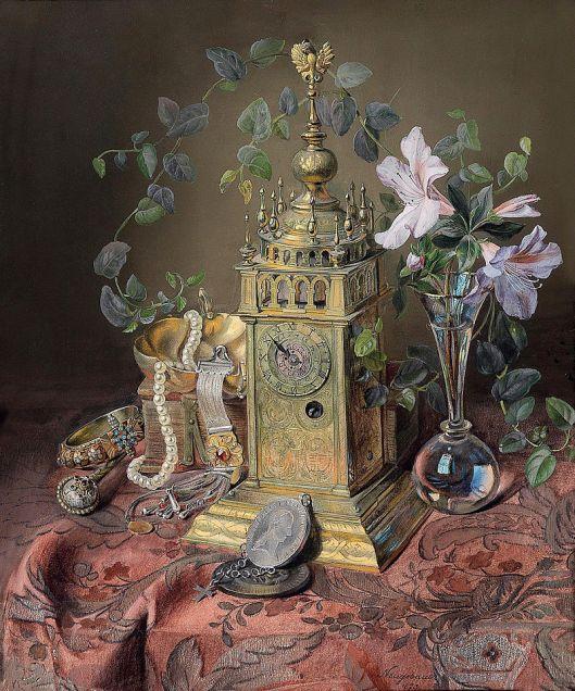Josef Neugebauer Stillleben mit einer Uhr ('Still Life with a Clock') 1873 {{PD}}