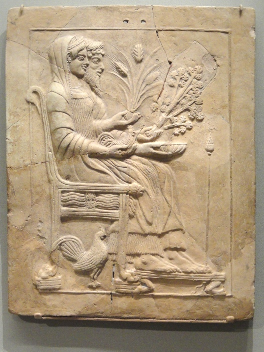 Persephone and Hades Enthroned, 500-450 BC, Greek, Locri Epizephirii, Sanctuary of Persephone--Photo by Daderot {{PD}}