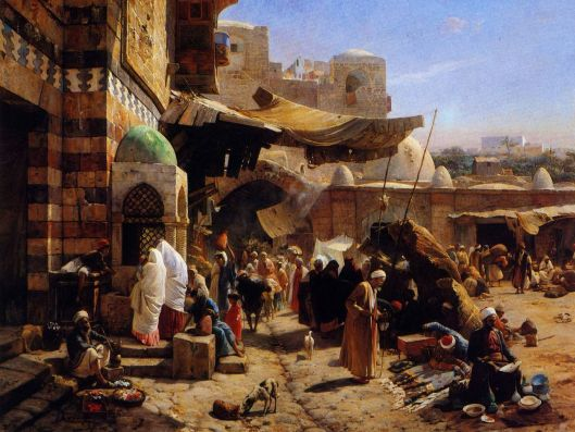'Market at Jaffa' Gustav Bauernfeind 1887 {{PD}}