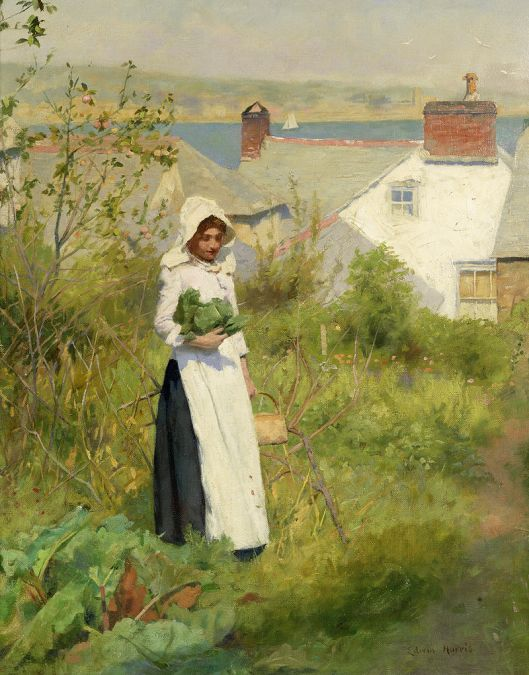 Edwin Harris 'A Cornish cottage garden' 1906 or before {{PD}}