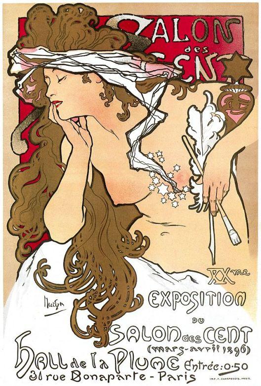 Go after that dream, dear Leo. 'Affiche Salon des Cents' 1901 Alfons Mucha {{PD}}