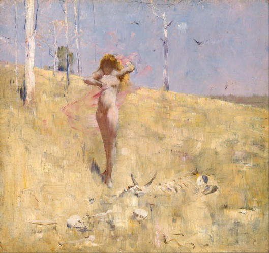 This is called 'The Spirit of the Drought' by Arthur Streeton, but it could be the spirit of late summer, the driest time in the Northern hemisphere, the point when Virgo takes over. {{PD}}