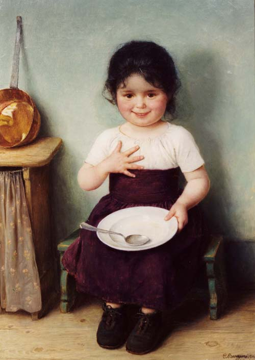 That could be you by your next birthday, Virgo, with a totally clean plate. Carl von Bergen 'Mädchen mit Teller' (Girl with Plate) 1904 {{PD}}
