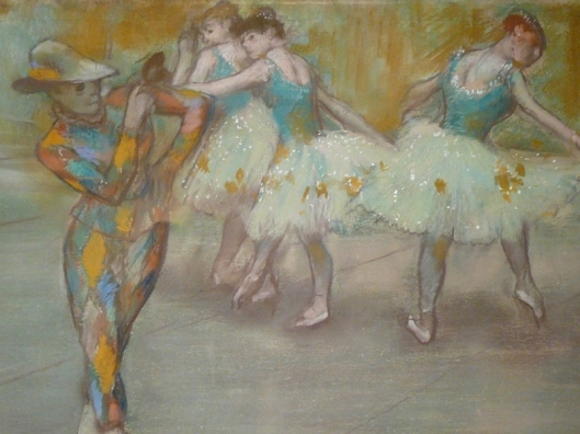 Keep your eyes open--the Trickster doesn't always wear a bright, diamond-patterned jumpsuit. Edgar Degas - Arlequin danse, c. 1890 {{PD}}