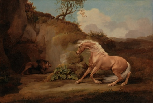 Leo, quit frightening everyone with your erratic behavior. 'Horse Frightened by Lion' George Stubbs c1765 {{PD}}