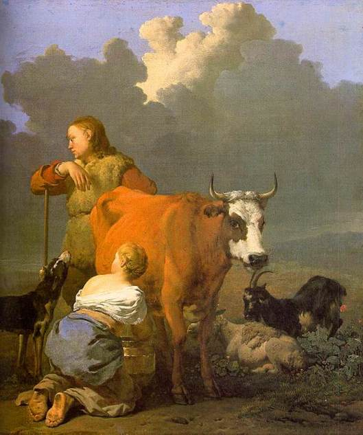 Your work may not be easy or glamorous, but most of it will be very practical. Karel Dujardin - 'Woman Milking a Red Cow' 1650s {{PD}}