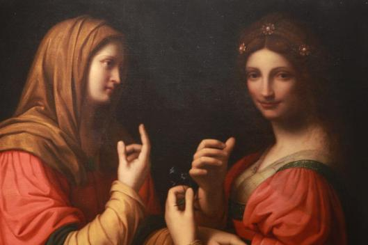 Modesty and Vanity in this painting look like twins--and those who bother to advertise their modesty are absolutely showing their vanity. 'Modesty and Vanity' Leonardo da Vinci c1500 {{PD}}