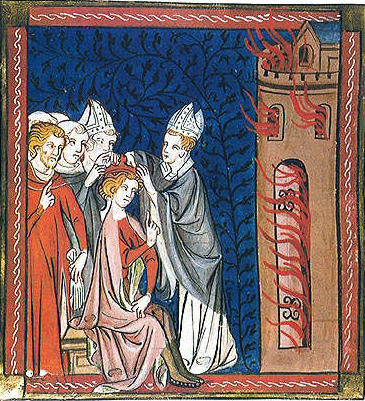 Don't abdicate, for instance, your responsibility to put that fire out. from 'The Chronicles of St. Denis' 12th century Artist unknown {{PD}}