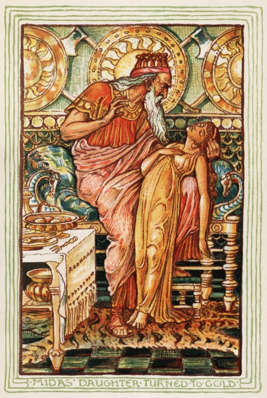 It's unlikely your pizazz will go quite this far, Leo. 'Midas and His Daughter' Walter Crane {{PD}}