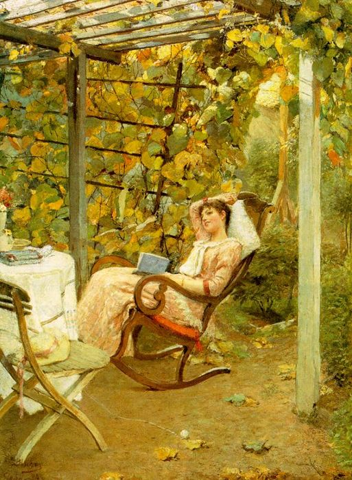 It won't all be frantic activity--you can take some time off, too, Leo. Oscar Bluhm 'Pergola' 1892 {{PD}}