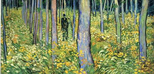 'Undergrowth with Two Figures' Vincent Van Gogh 1890 {{PD}}