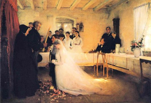 Reconciling the past with the current reality is a lot like getting married. Pascal Dagnan-Bouveret - 'Blessing of the Young Couple Before Marriage' 1880 {{PD}}