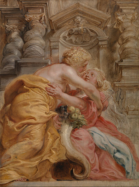 Sir Peter Paul Rubens - 'Peace Embracing Plenty' (apparently as seen from the floor!) c1633 {{PD}}