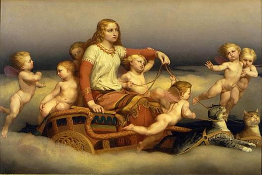 Here's a test of your power: wrangle cats, get them in harness, and get them to pull you and a dozen cherubs around in the clouds--that's power! 'Freya, Cats, and Angels' Nils Blommér 1851 {{PD}}