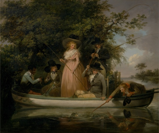 Be fearless; stand up in the boat if you want to. 'A Party Angling' George Morland 1789 {{PD}}