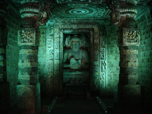 Inside Ajanta caves Photo by Jorge Láscar from Australia-Creative Commons Attribution 2.0 Generic via Wikimediacommons