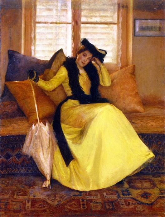 It may seem like very little is happening on the outside, but a great deal is happening on the inside. Susan Watkins  'Lady in Yellow' (1902) {{PD}}
