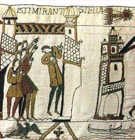 "Tapestry of Bayeux (Normandy) with Halley's comet. Text reads ISTI MIRANT STELLA: ""These (people) are looking in wonder at the star."" c1077 {{PD}}"