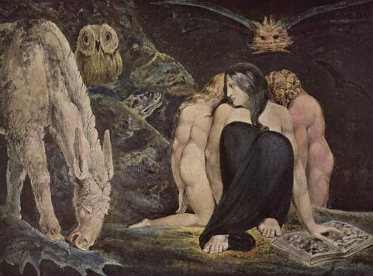 William Blake's depiction of Hekate reflects a lot of the cultural baggage she's been assigned. 1795 {{PD}}